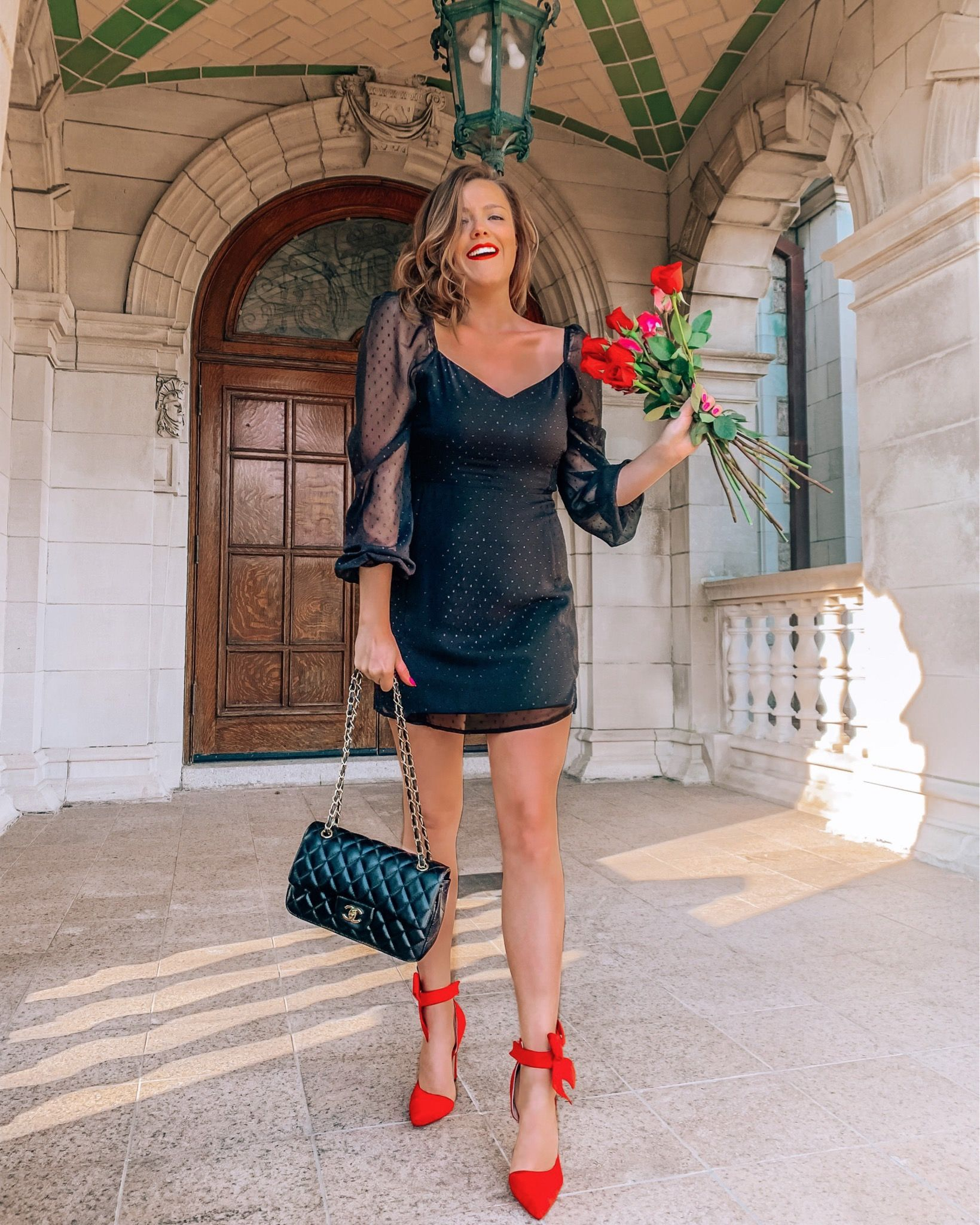 Little Black Dress With Red Heels Roses And Chanel Fashion Outfits Little Black Dress Fashion [ 2048 x 1639 Pixel ]