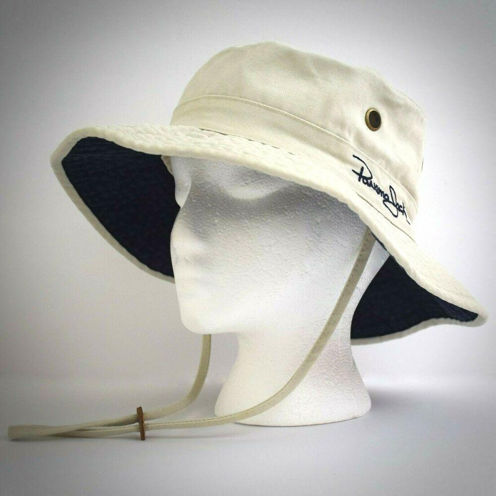 c5df0cdf5 Panama Jack Beige Khaki Boonie Bucket Hat L Cotton Marina Bay Strap ...