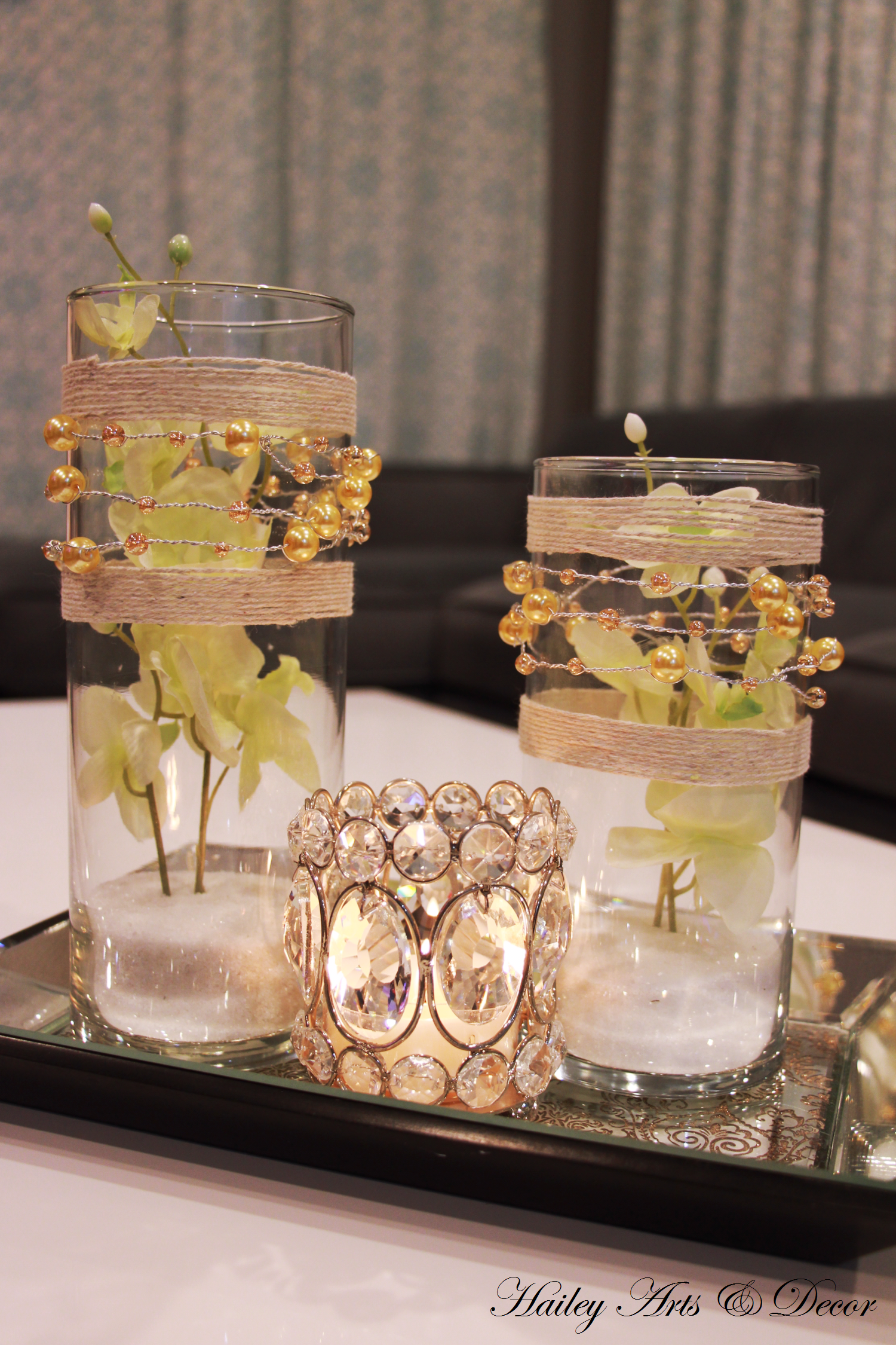 These Two Beautiful Metallic Golden Pearl Wire Ribbon Twine Clear Gl Cylinders Will Add Sparkle To Your Home The Vase Is Decorated With Pastel Green