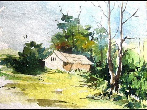 SIMPLE LANDSCAPE PAINTING, watercolor painting for beginners, paint with david - YouTube
