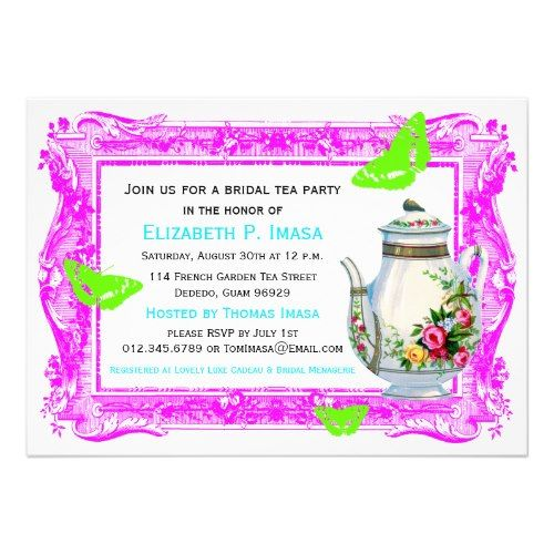 French Garden Bridal Tea Party Cards