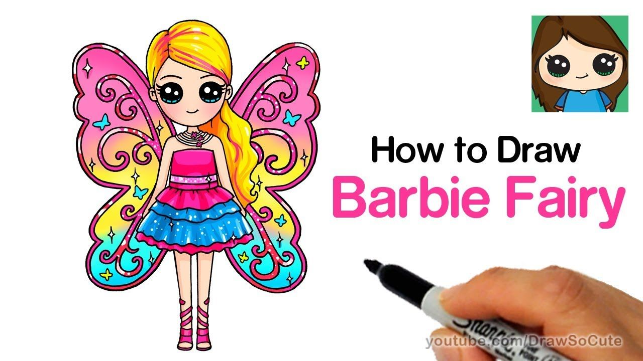 How To Draw Barbie Fairy Youtube Fairy Drawings Barbie Fairy Barbie Drawing