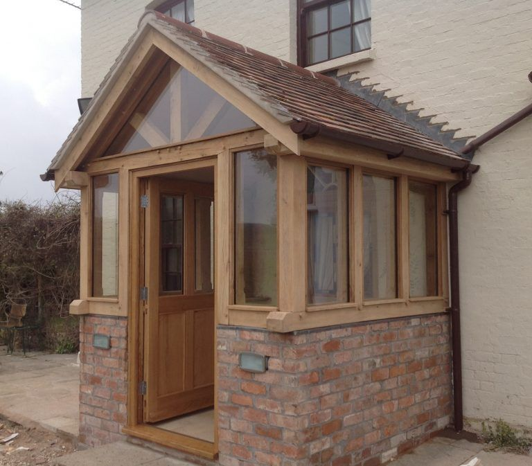 Enclosed Oak Porch With Glass And Door House With Porch Front