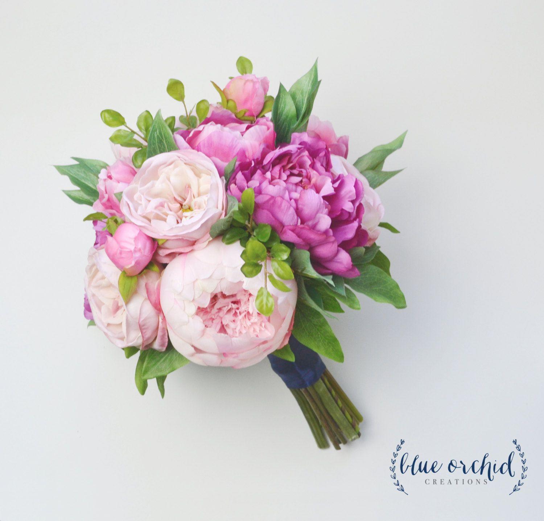 Silk Flower Bouquet - Wedding Bouquet, Peony Bouquet, Pink Peony ...