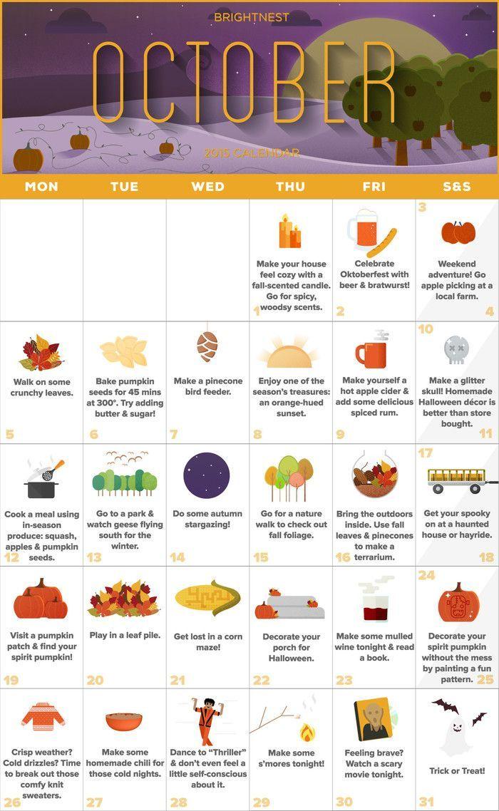 Your October Calendar for an Unforgettable Autumn (Printable!) #fallseason