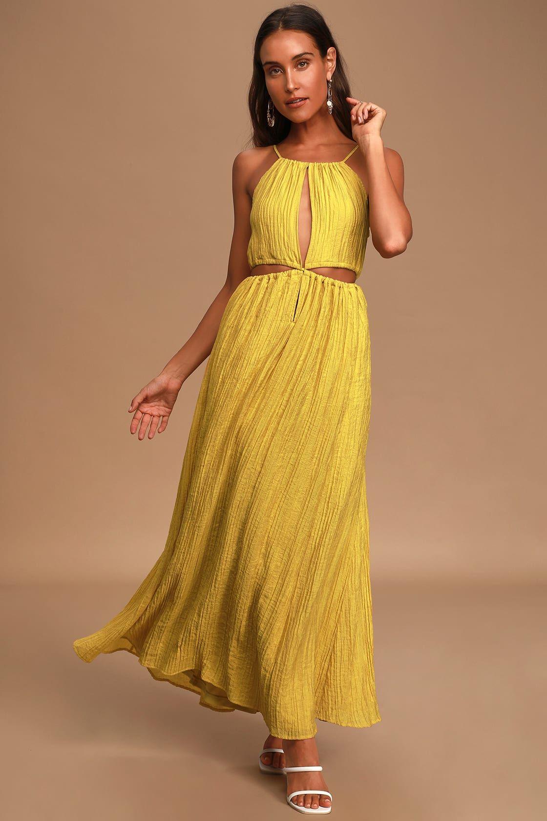 Streamlined Style Mustard Yellow Tie Back Cutout Maxi Dress Cutout Maxi Dress Maxi Dress Women Dress Online [ 1680 x 1120 Pixel ]