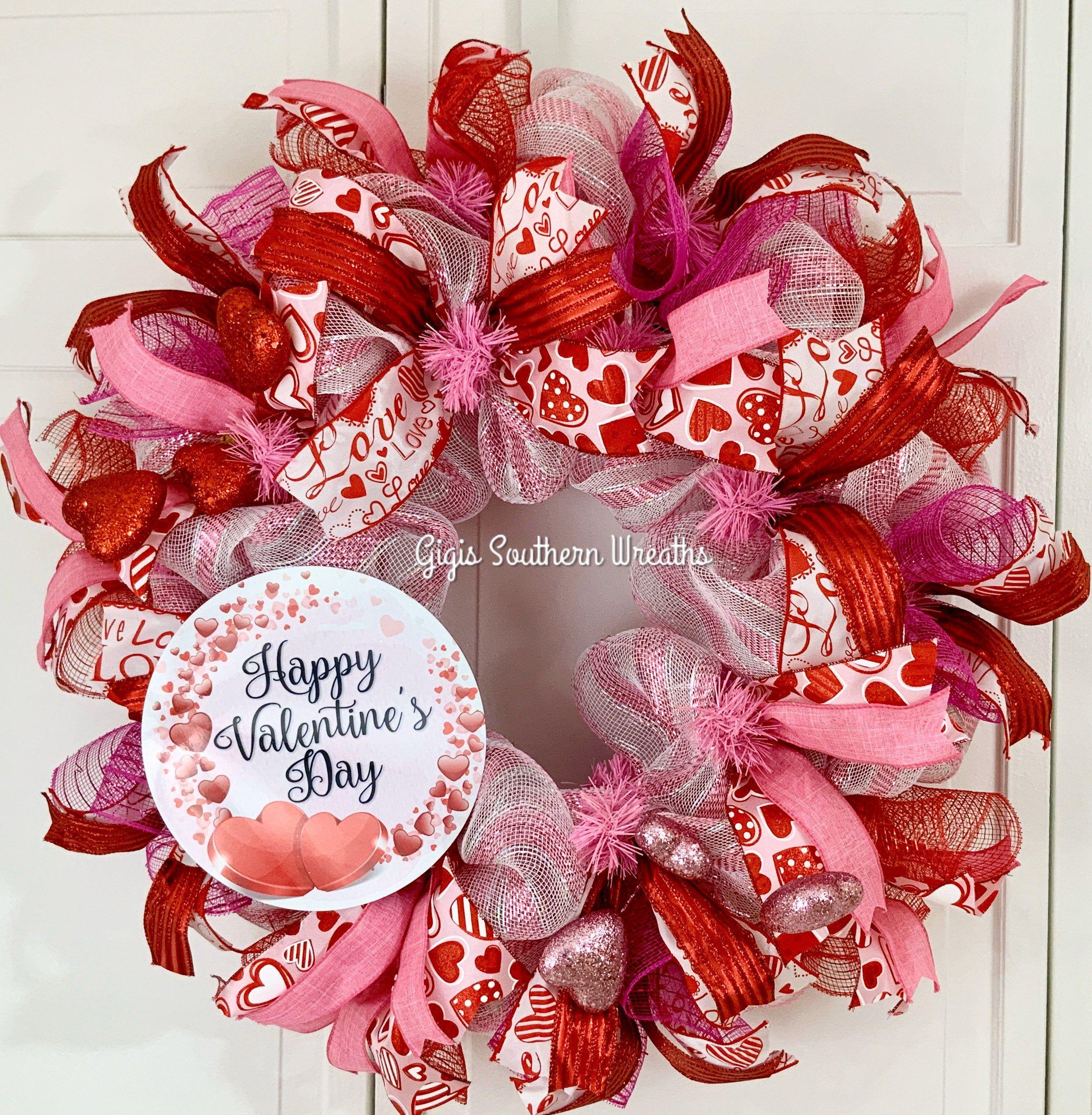 Valentine Mesh Wreath Valentine\u2019s Wreath for Front Door Valentine\u2019s Wreath Valentines Day Wreath Valentine Hearts Valentine/'s Decor