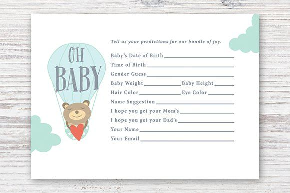 Printable Baby Prediction Card By Pixejoo On Creativemarket  Baby