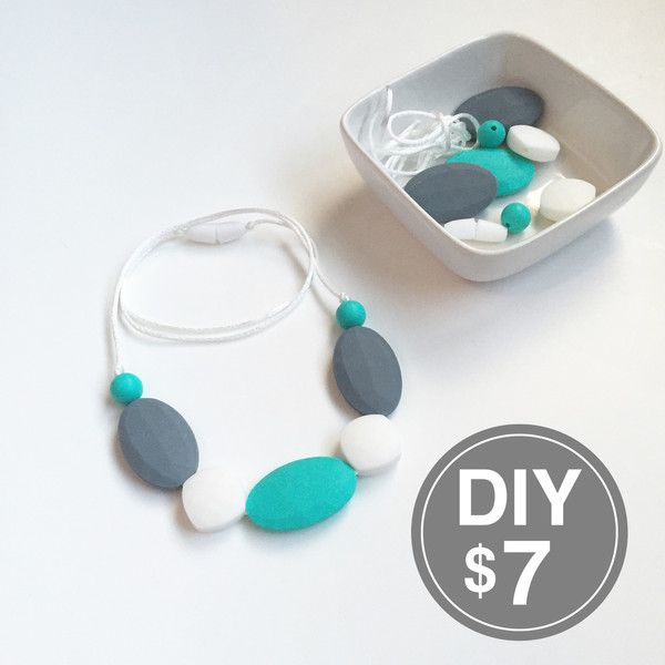 DIY Teething Necklace Kit with Gray and Teal Flat Oval Silicone Beads