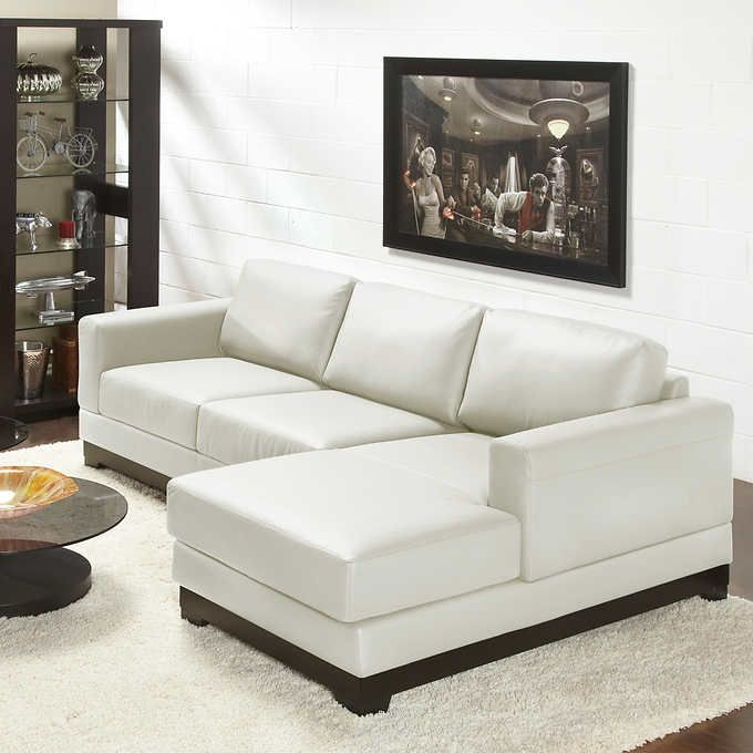 Galaxy Linen Top Grain Leather Sofa With Right Hand Facing Chaise Top Grain Leather Sofa Leather Sofa Top Grain Leather