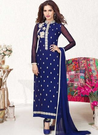 Navy Blue Embroidery Work Georgette Designer Long Churidar Suit http://www.angelnx.com/Salwar-Kameez/Churidar-Suits