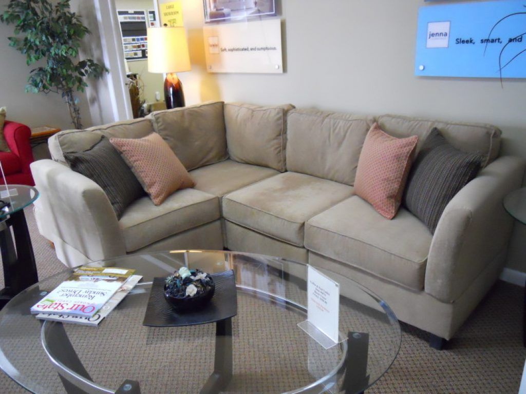 Bassett mirror company carnaby round cocktail leaf new home s - Awesome Small L Shaped Velvet Sectional Decor With Oval Glass Top Coffee Table With Small Sectionals