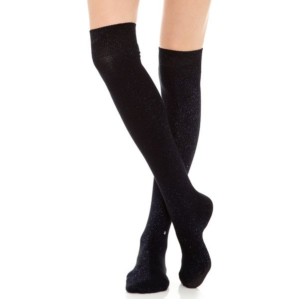 Stance Over The Knee Twinkle Socks - Black (415 UYU) ❤ liked on Polyvore featuring intimates, hosiery, socks, accessories, legs, meias, shoes, above knee socks, overknee socks and black socks