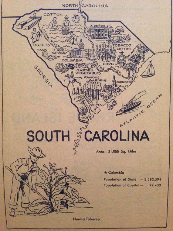 Vintage South Carolina Map.South Carolina Map Wall Art Vintage Map Of Sc Artwork State Map