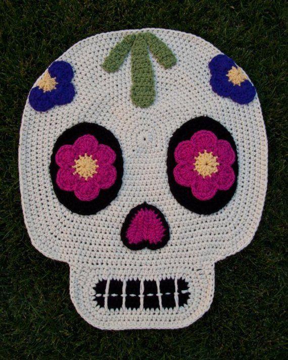 Day of the dead skull crochet rug | Basteln