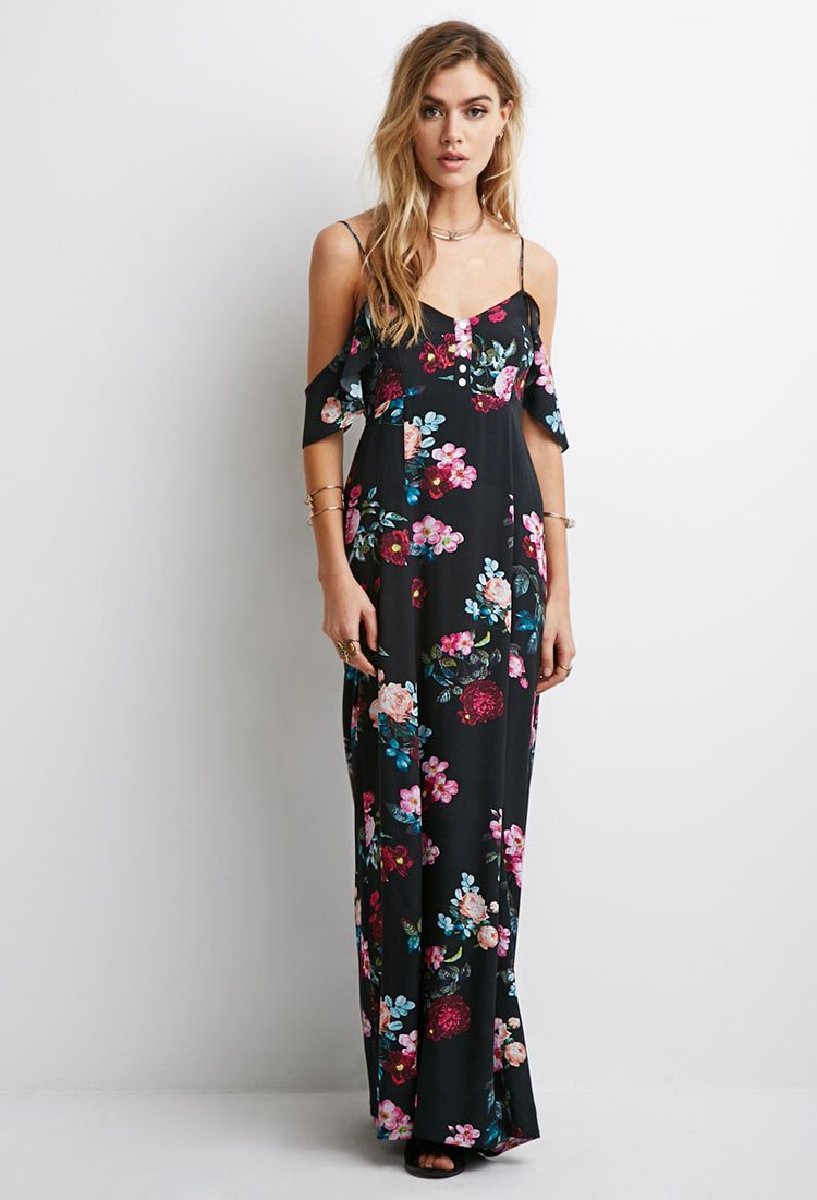 ef64287f5545 Mixed Floral Ruffle-Sleeve Maxi Dress | Forever 21 | My Style ...