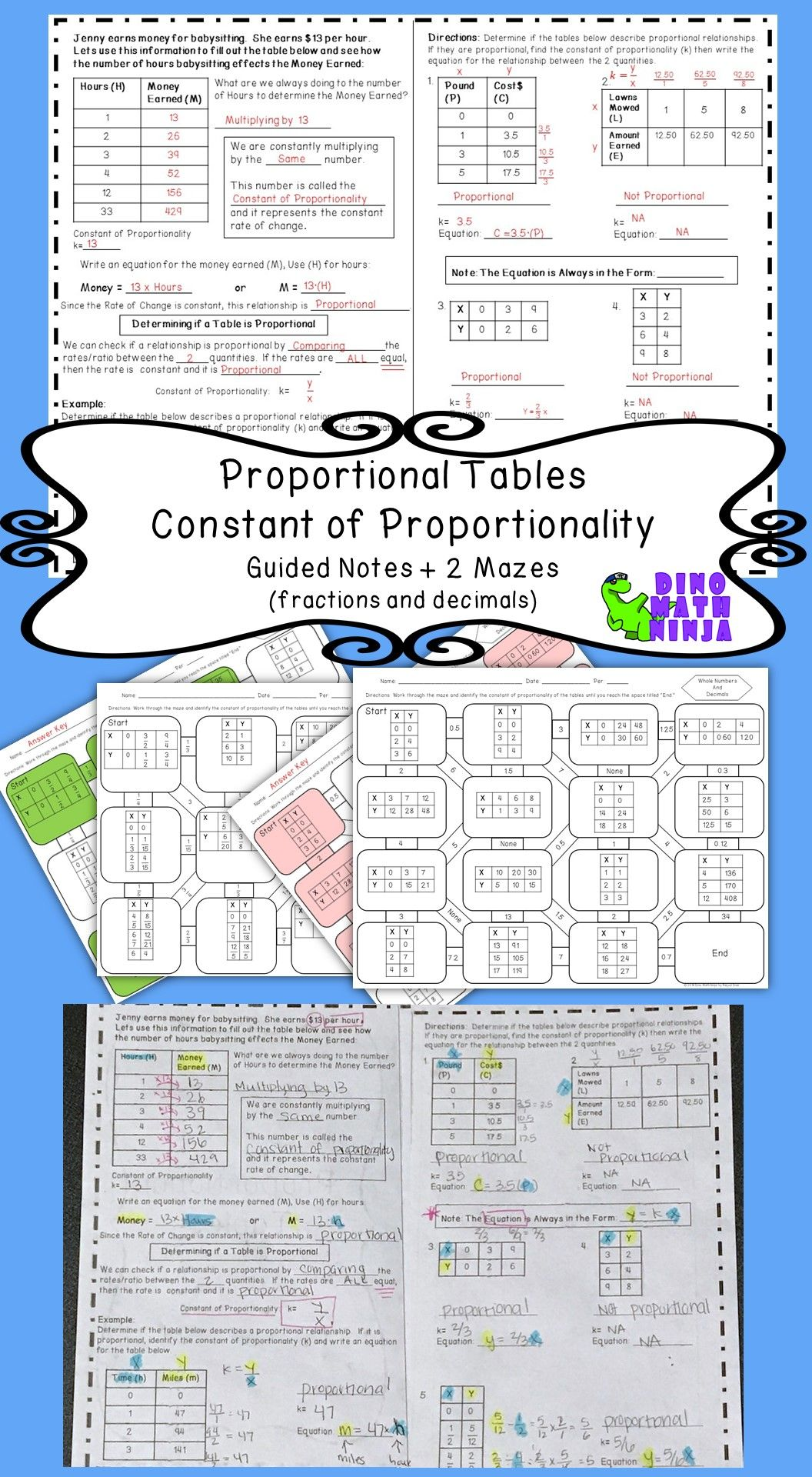 7 Rp Proportional Tables K Value Mazes Guided Notes