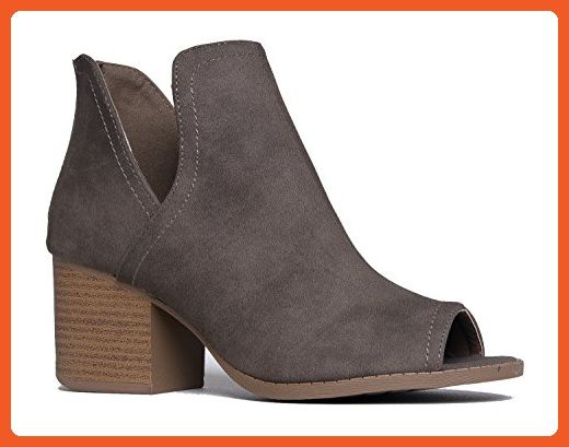 Women's Western Low Ankle Boot - Cut Out Stacked Heel Bootie - Comfortable Walking Shoe
