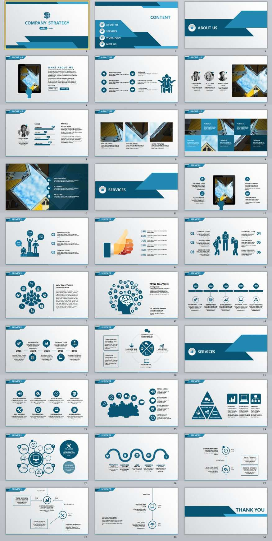 30 Blue Annual Report Powerpoint Templates Powerpoint