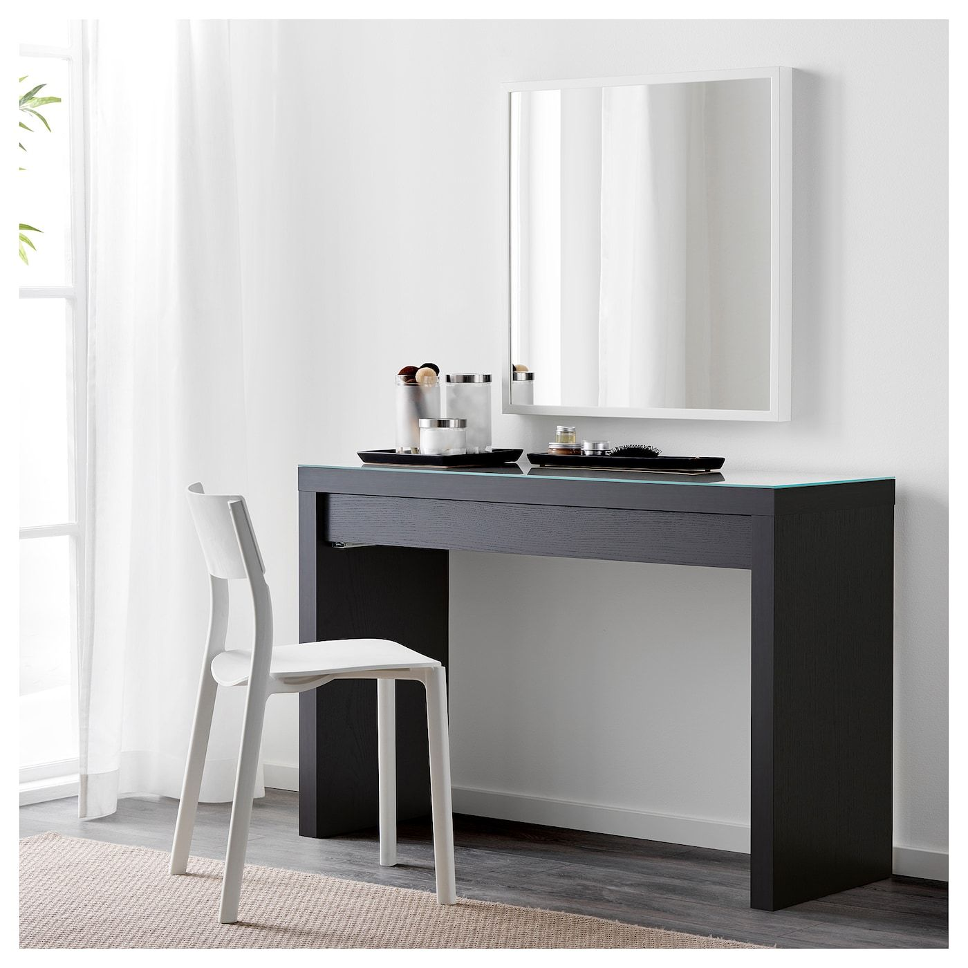 Malm Dressing Table Black Brown Ikea Kaptafel Kaptafel Ideeen Tafel Ikea