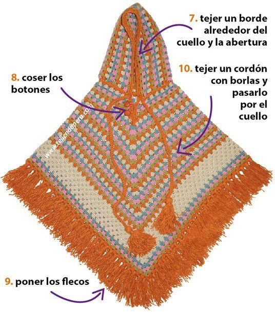 Paso a paso: poncho granny stripes con capucha tejido a crochet ...