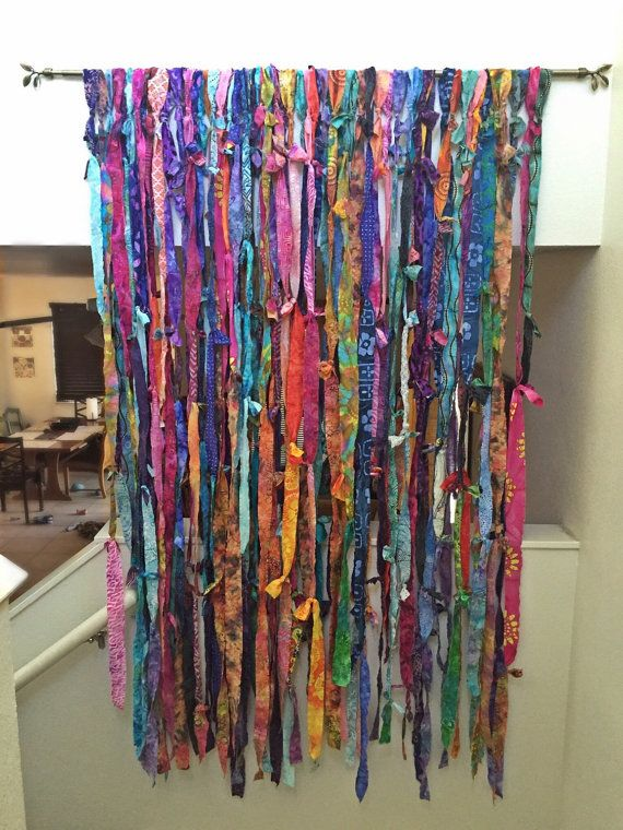 Bohemian Fringe Curtains Shabby Knotted Room Divider Gypsy Doorway Curtain Batik Wall Art