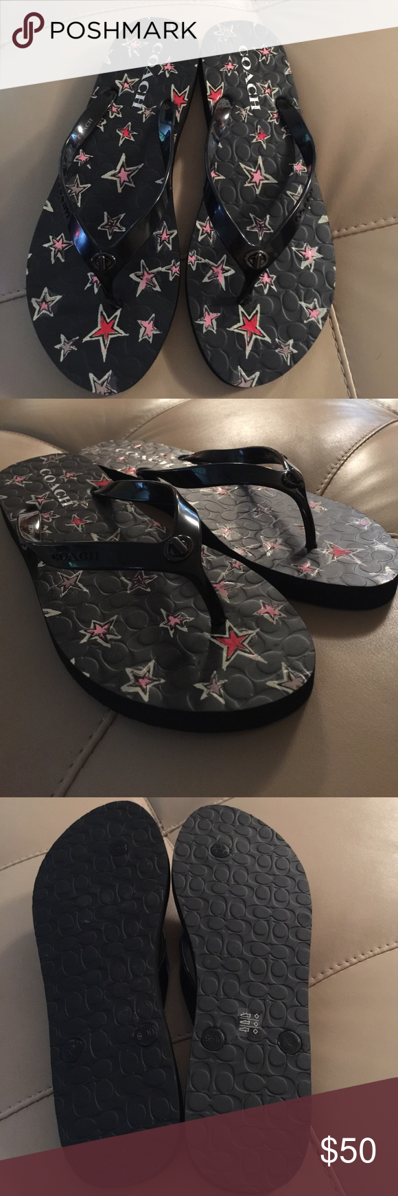 🆕Adorable Coach Flip Flops 🆕 Never worn Adorable COACH Flip Flops. Black with red, pink and white stars. Super comfy! I bought them last year and never wore them (have another pair just like them 🤷🏼♀️)! Size 9 or 39. Coach Shoes Sandals