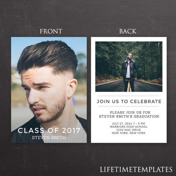 Male Graduation Announcement Template 5x7 Graduation Card