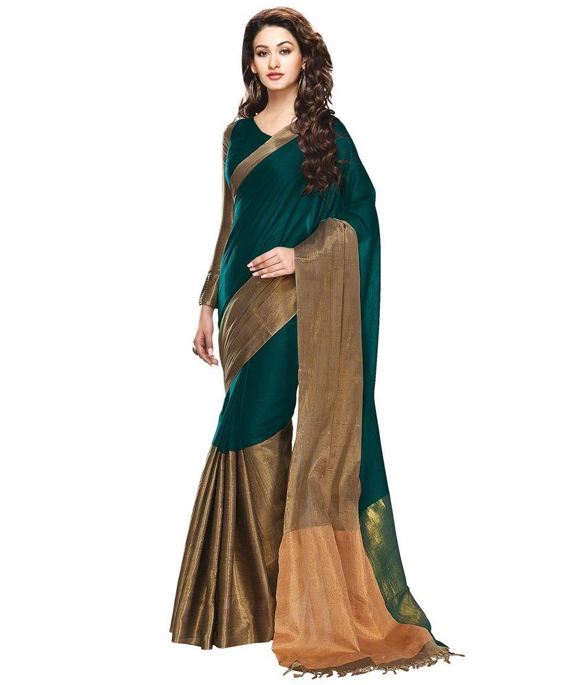 860f355b12 Ishin Green Cotton Saree Price in India - Buy Ishin Green Cotton Saree  Online at Snapdeal