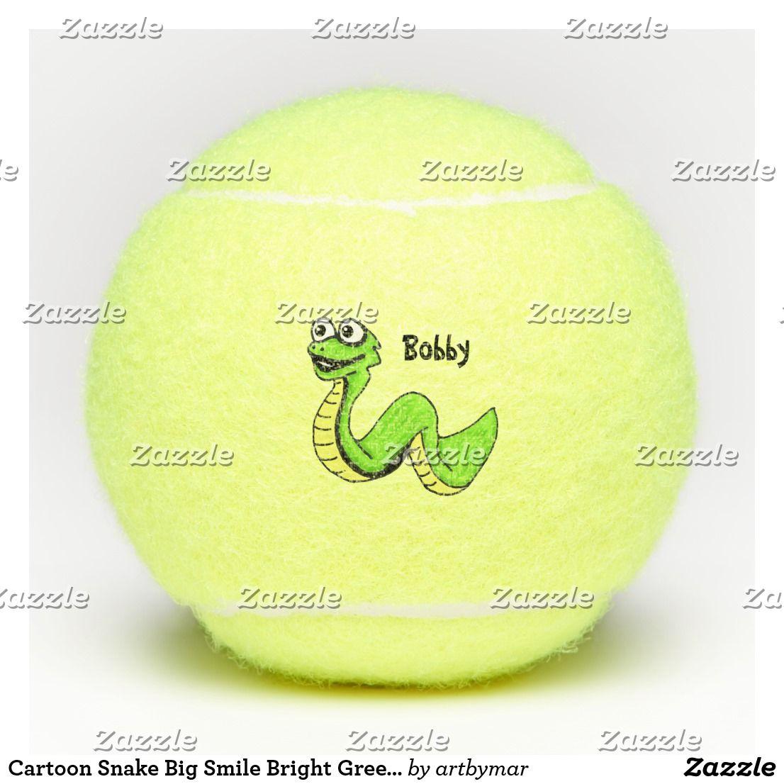 Cartoon Snake Big Smile Bright Green Yellow Tennis Balls Zazzle Com Tennis Balls Bright Green Tennis
