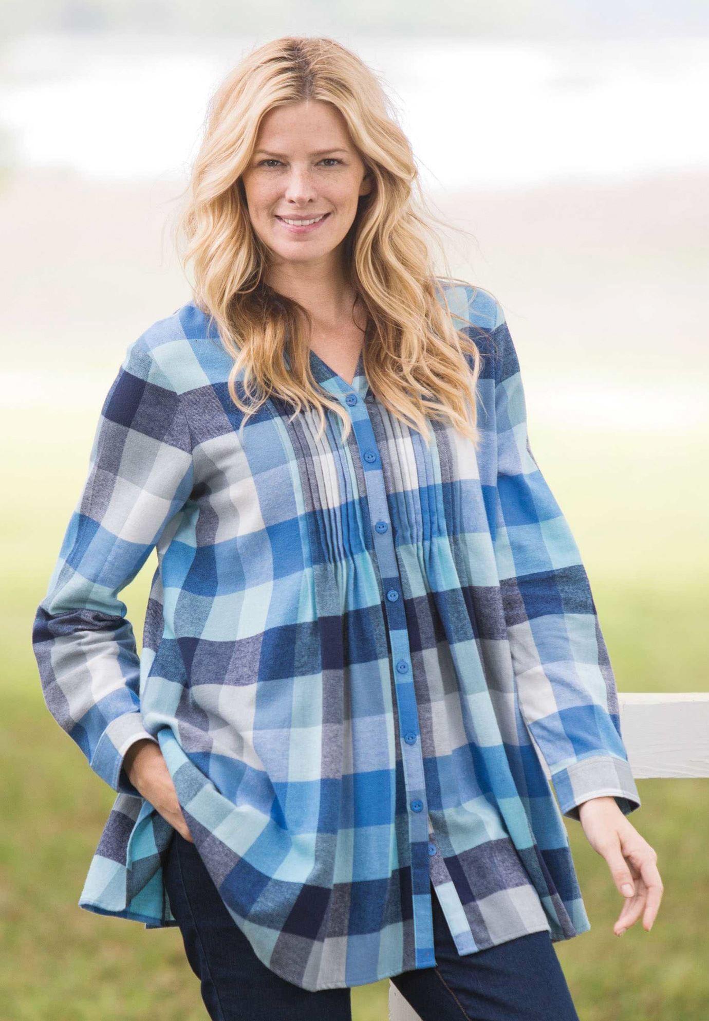 5bdf31fd963 Pintuck flannel bigshirt | Plus Size Tunics | Woman Within | My Wish ...