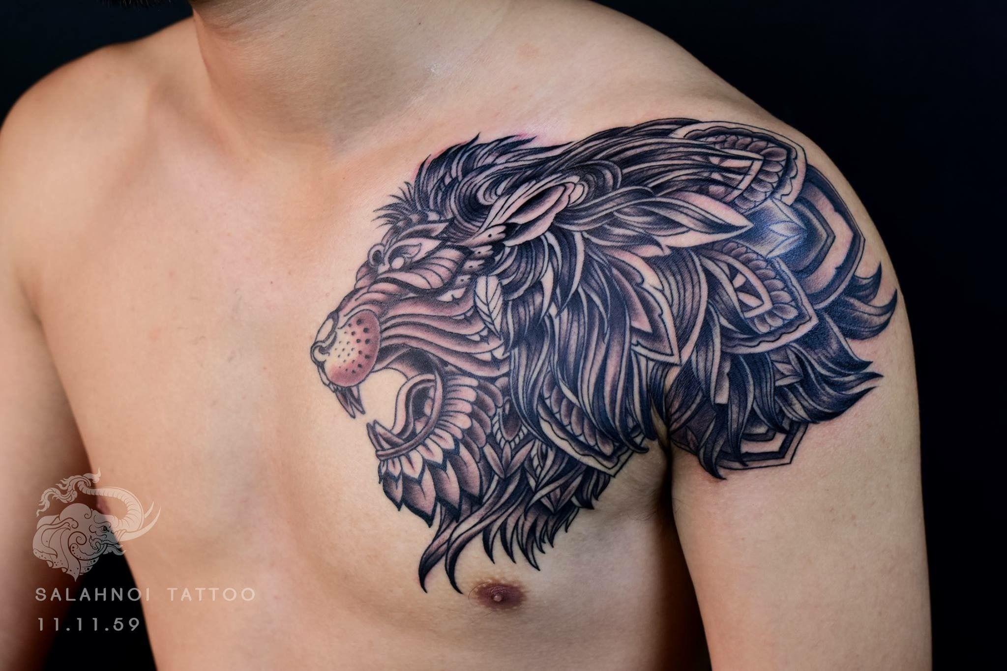 11 11 59 Lion Tattoo Hg Tattoo Machine Inkjectanano Spectahalo2 Silverbackink Skiner Skinnerointment S Tribal Shoulder Tattoos Tattoos Filipino Tattoos