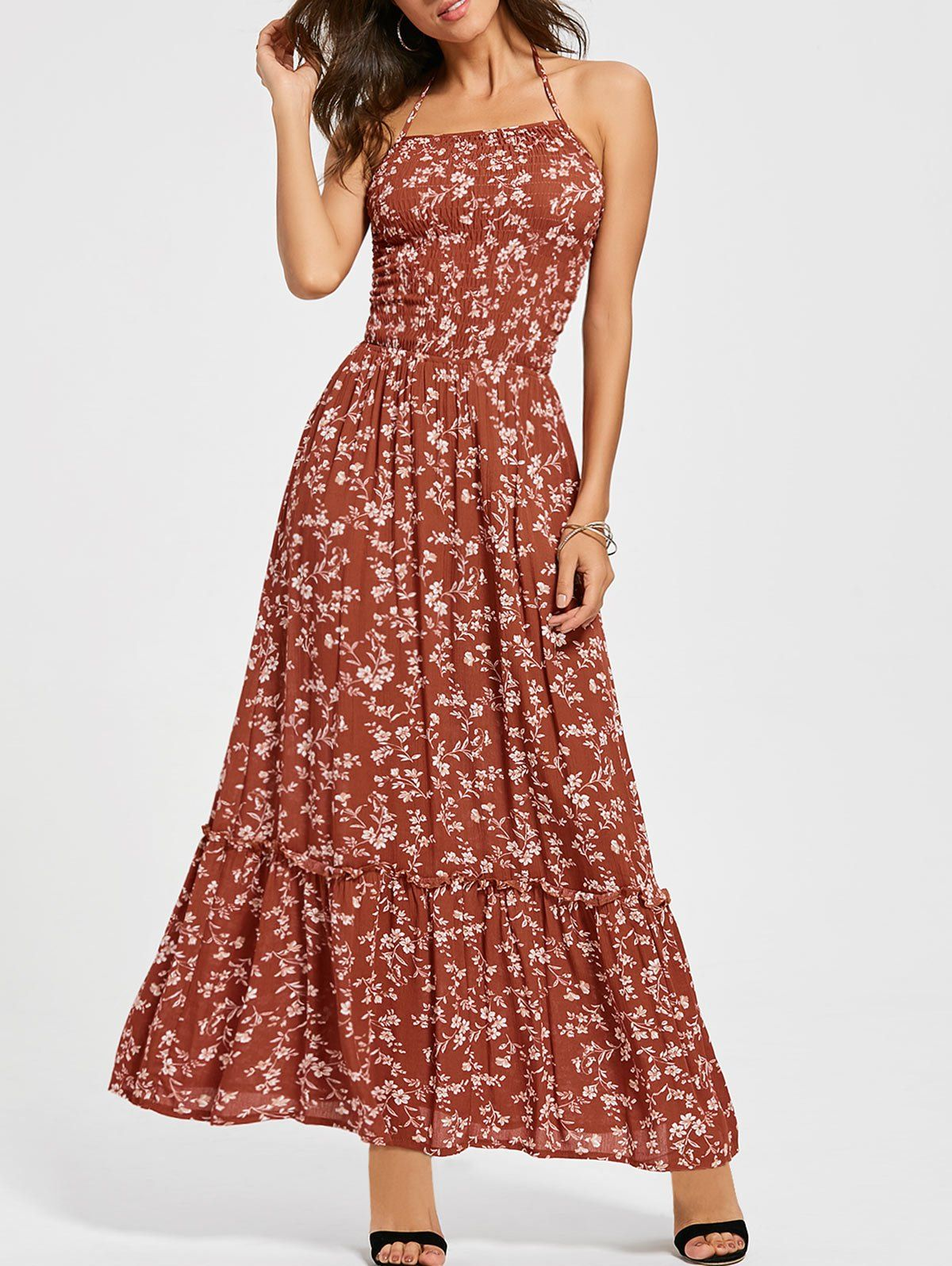 Summer Sleeveless Red Flowers Ankle Length Elastic Beach Dress Maxi Sundress Dresses Women Cheap Dresses