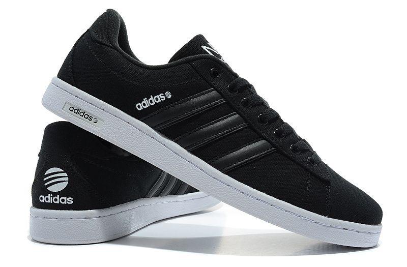 promo code 6d9f5 898ab Men Adidas Black White Canvas Originals Neo Campus Shoes