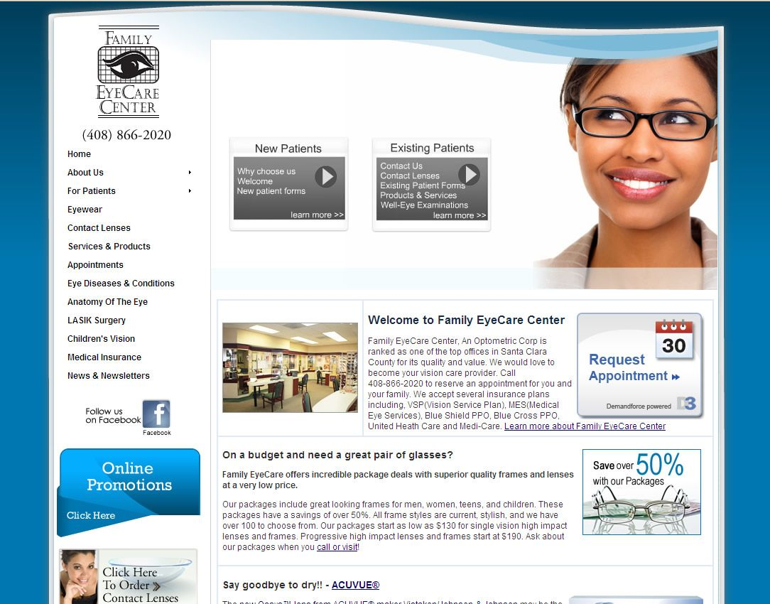 Family Eye Care Center An Optometric Corp Is Ranked As One Of The Top Offices In Santa Clara County For Its Quality A Eye Care Center Eye Care Dry Eyes Causes