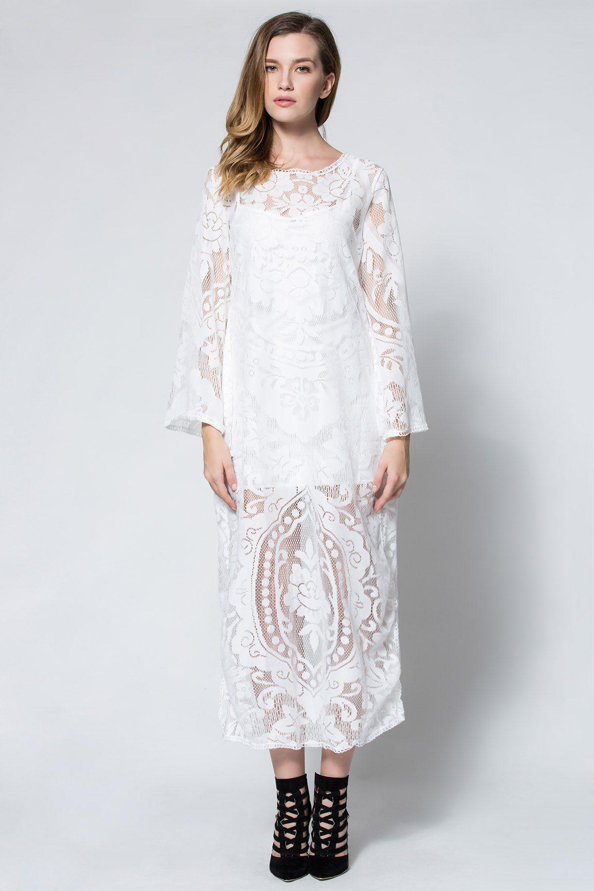 Flare sleeve sheer lace maxi dress style ss pinterest maxi