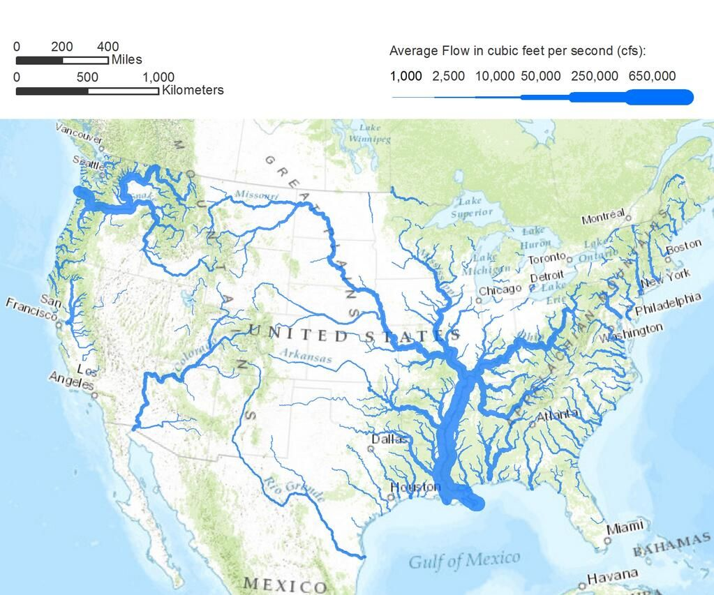 Geographic Travels: Map of the Flow Size of United States ...