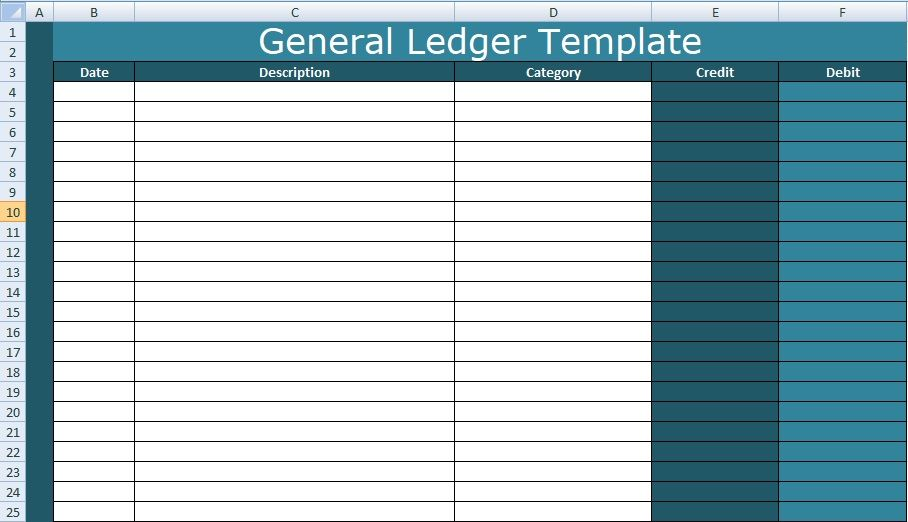 a general ledger template excel is therefore create to record all