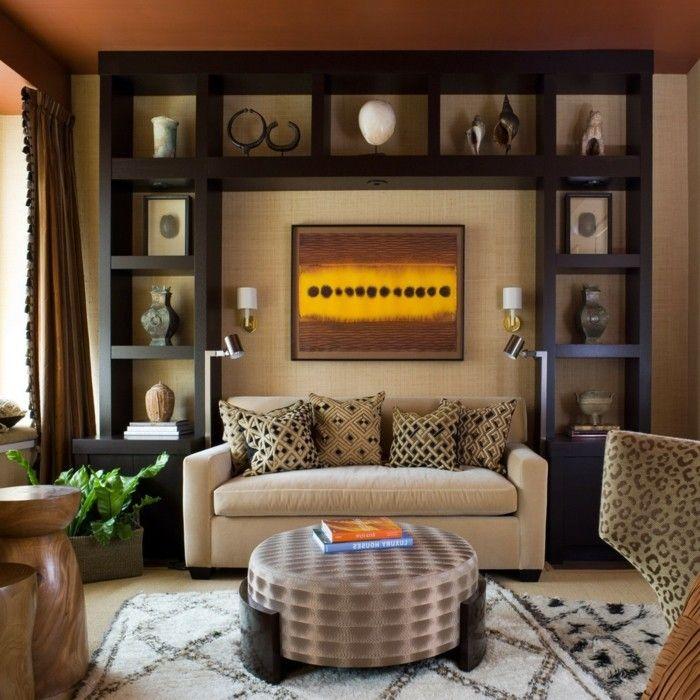 modernes wohnen gemütliches wohnzimmer in brauntönen mit viel deko ...