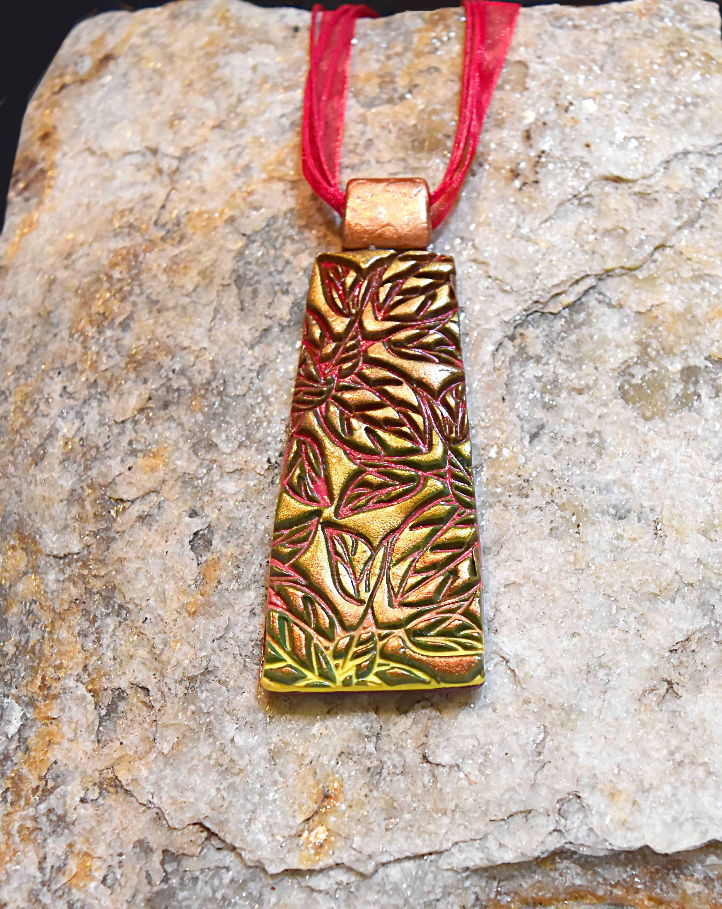 Pendant Necklace Gold Red Yellow Leaf Motif Ooak