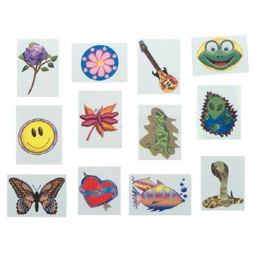 Kids Temporary Tattoos - Assorted (144 pk) by Rhode Island Novelty. $6.47. Features a wide variety of designs from flowers to aliens (assortments may vary). Includes easy-to-follow detailed directions. 144-pack of kid's temporary tattoos. These assorted temporary tattoos for kids are a fun and easy (and removable) form of body art. This kid temporary tattoo set includes flowers, guitars, aliens, fish, hearts, butterflies, and snakes, but assortments may vary. Detai...