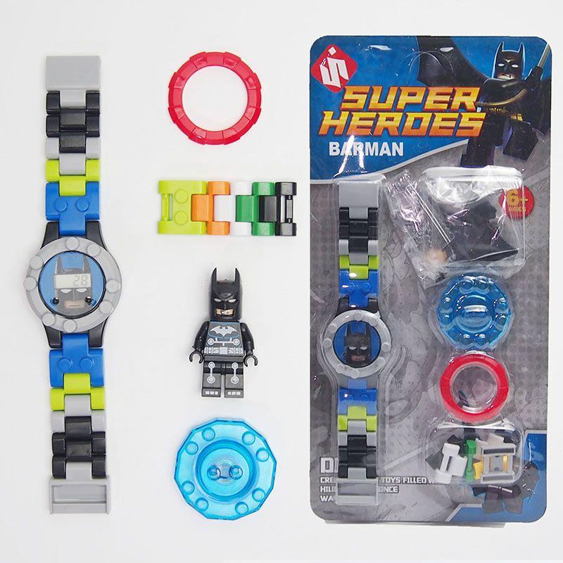 Super hero dc avengers bouwstenen bricks originele doos horloge bricks compatibel lepines speelgoed voor kinderen gift