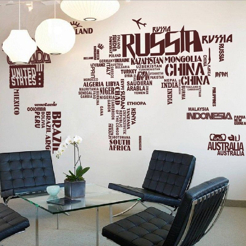 Exceptional Large World Map Wall Decal Design
