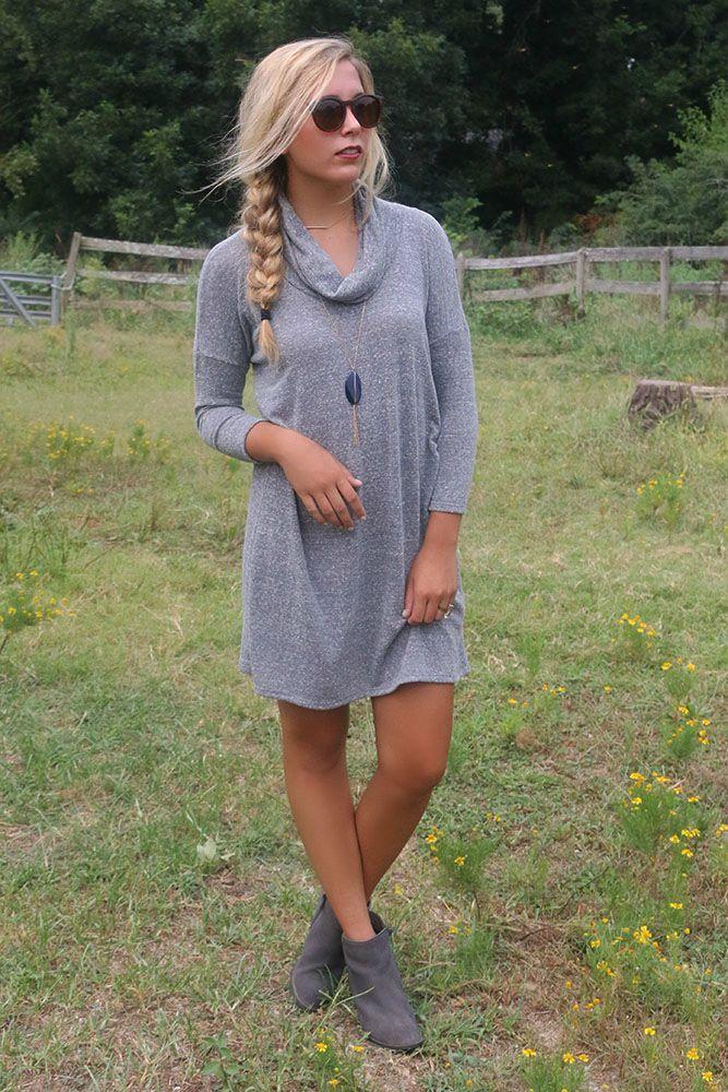 Keep Me Cozy Gray Cowl Neck Sweater Dress With Quarter Length ...