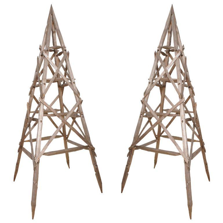 "Pair of ""Pyramid"" Garden Trellis"