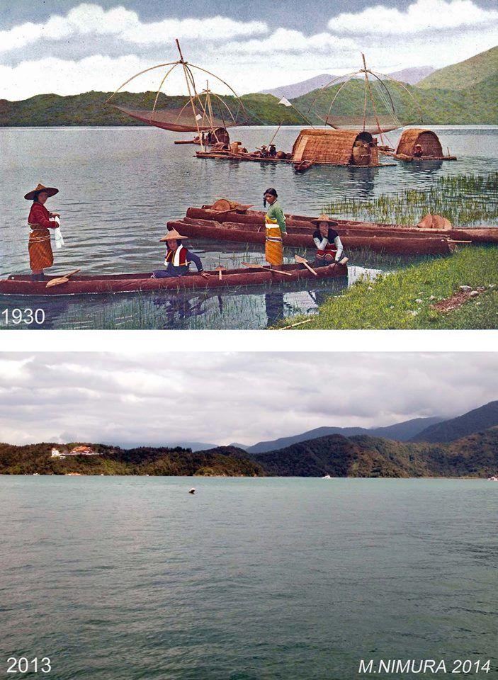 日月潭の水上生活者。明らかに台湾人娘とは異なる(タイヤール族と思われる)。湖中の中島(拉魯島)の様子。当時、タイヤールの娘は美人で有名だったという。