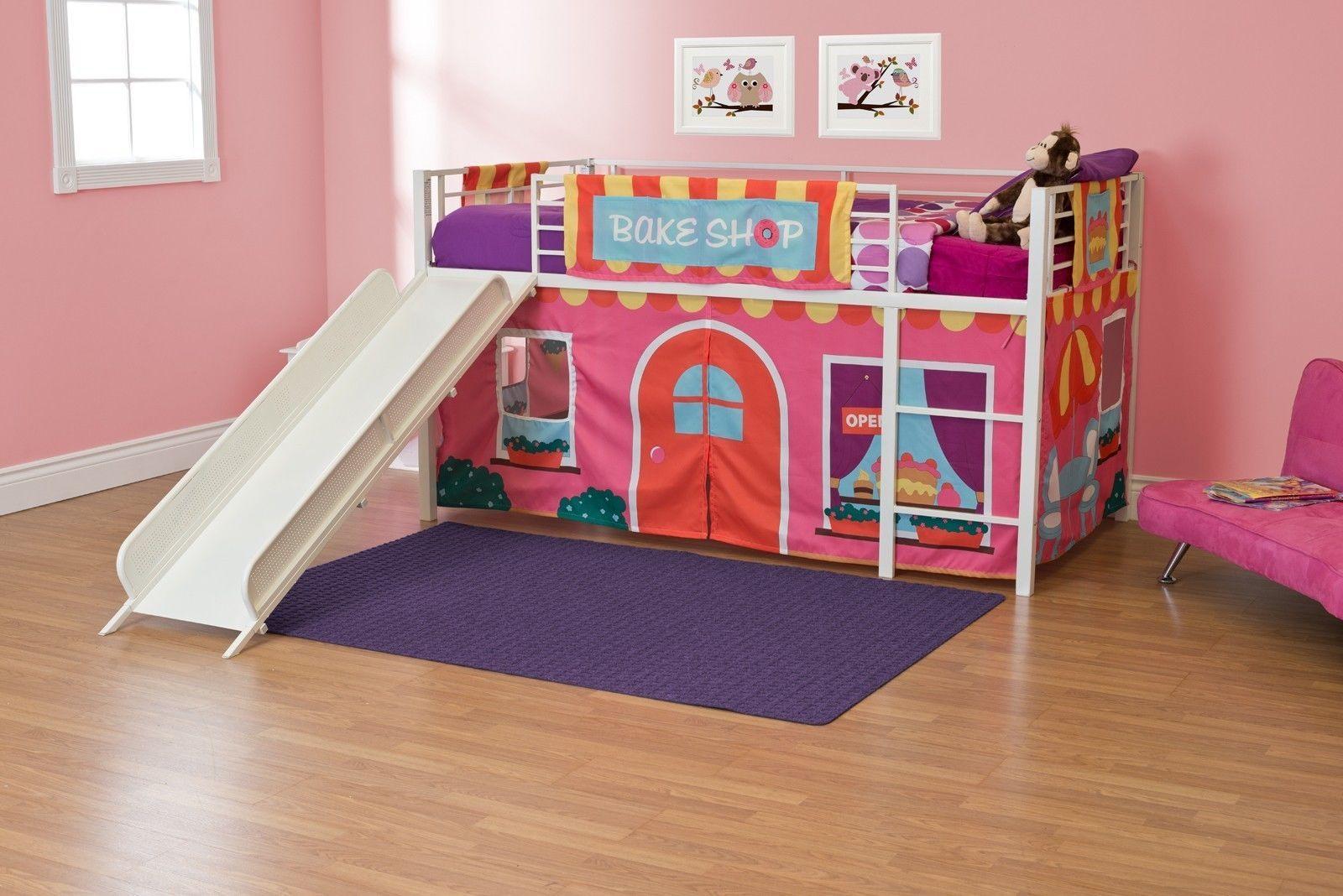 Love Loft Bed Curtain Set Tent Twin Size Bake Shop Playroom Fun Decor Bedroom Furniture Junior Loft Beds Girls Loft Bed Girls Bedroom Furniture