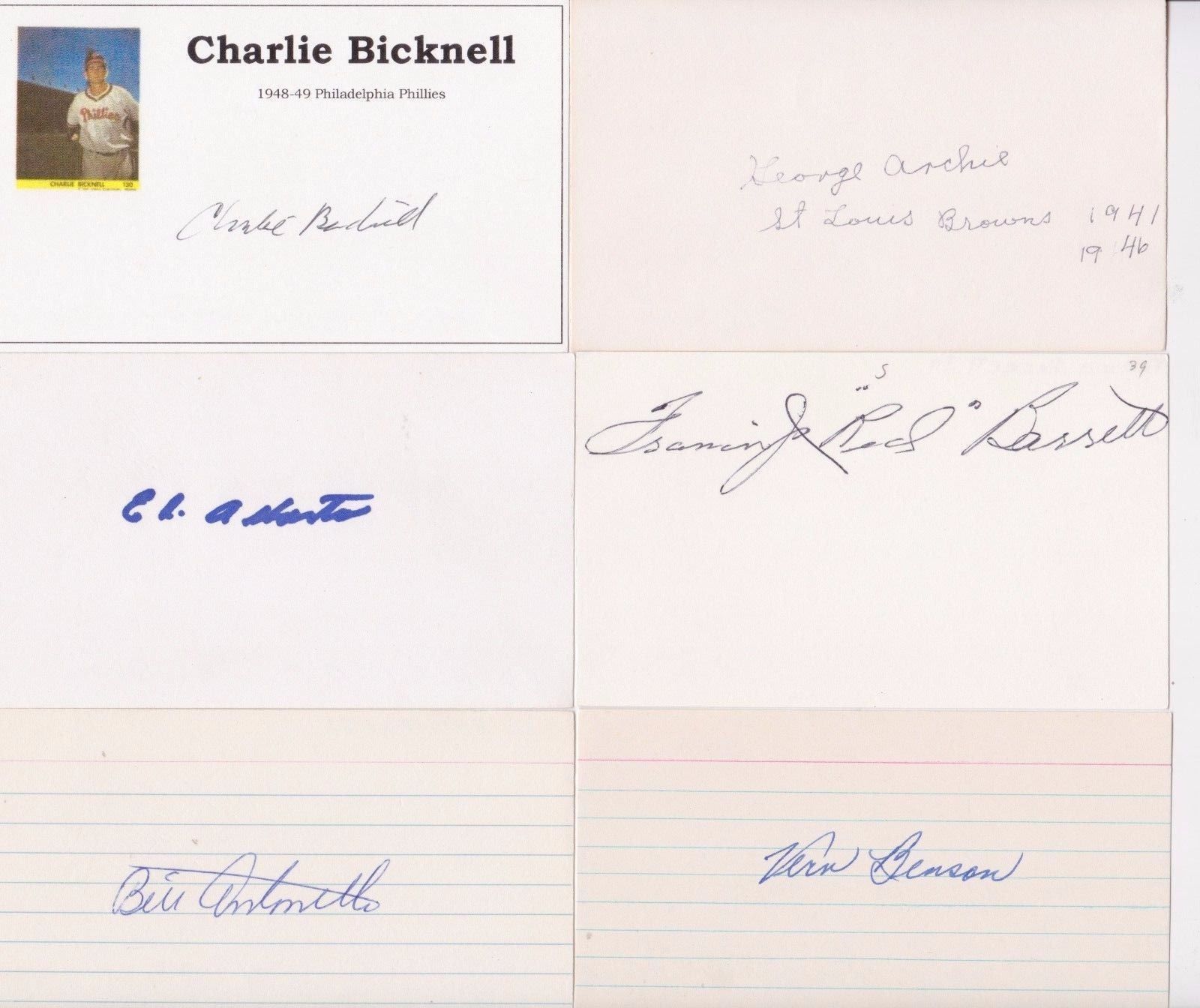 baseball lot of 12 autograph signed 3x5 index cards originates from the collection of former la