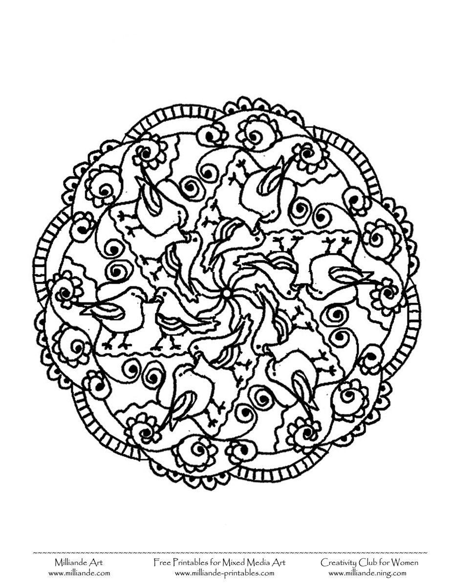 free printable mandala coloring pages bird mandala to color 2 bird