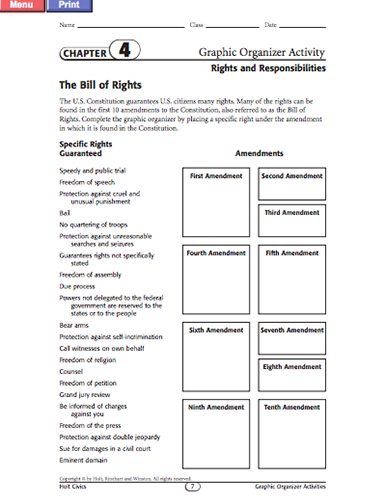 HereS A Bill Of Rights Graphic Organizer  Documents Of American